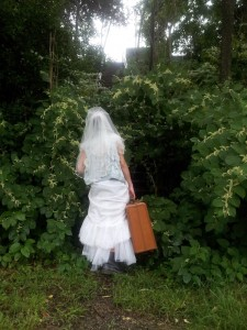 runaway bride with luggage